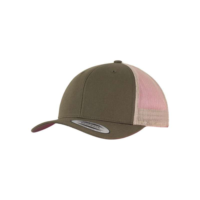 Mossgrön/khaki retro truckerkeps 6-panel